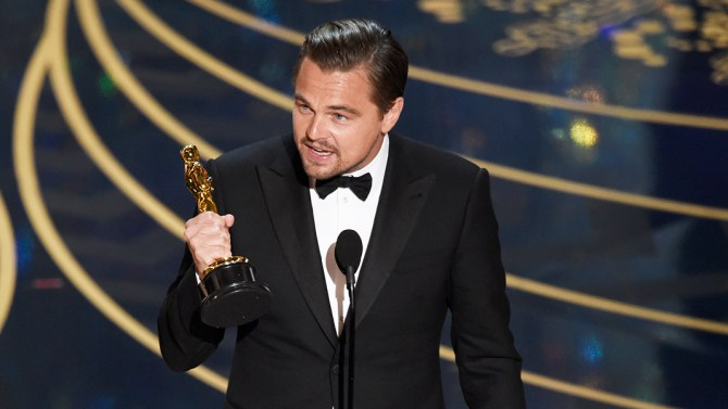 "Leonardo DiCaprio accepts the award for best actor in a leading role for ""The Revenant"" at the Oscars on Sunday, Feb. 28, 2016, at the Dolby Theatre in Los Angeles. (Photo by Chris Pizzello/Invision/AP)"